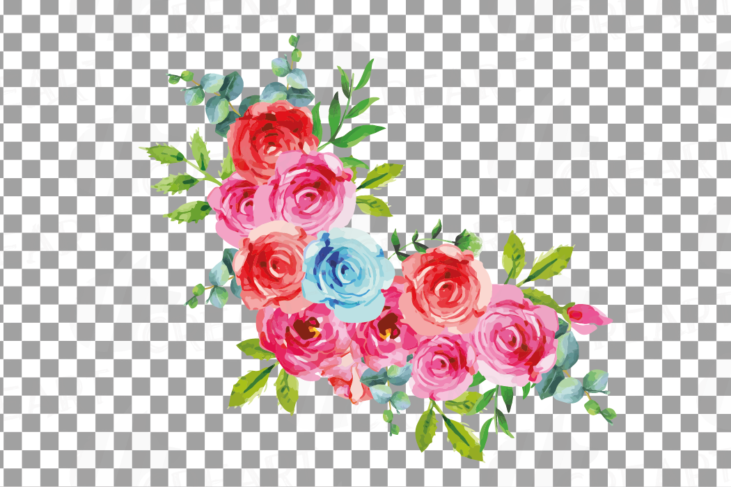 Boho pink and blue watercolor wedding bouquets, floral png example image 18