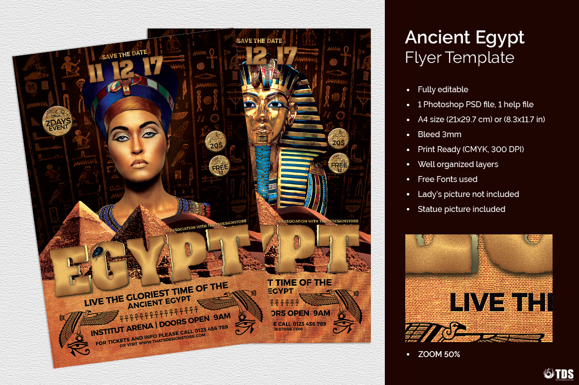 Ancient Egypt Event Flyer Template example image 1