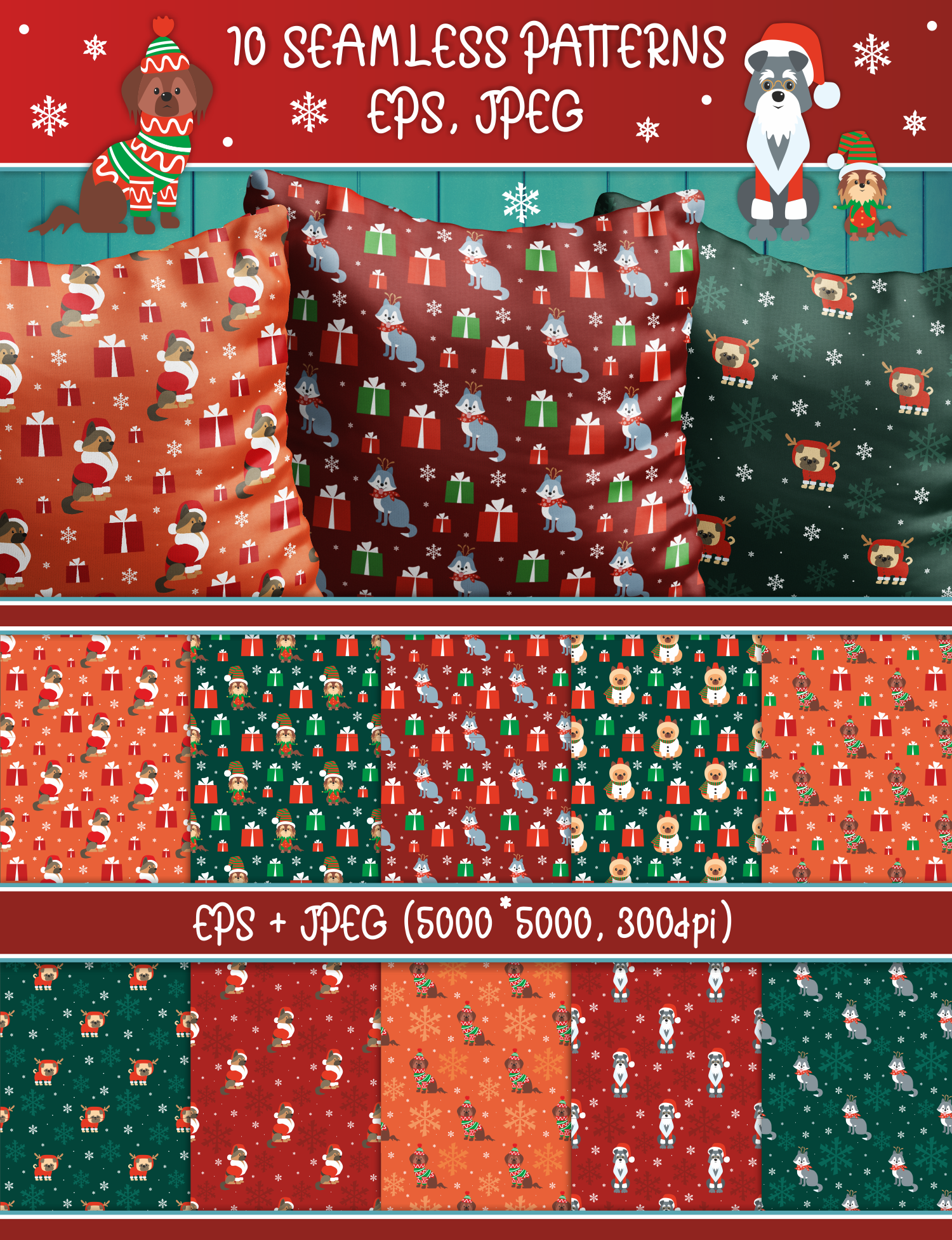 Woof. Christmas seamless patterns with cute doggies example image 3