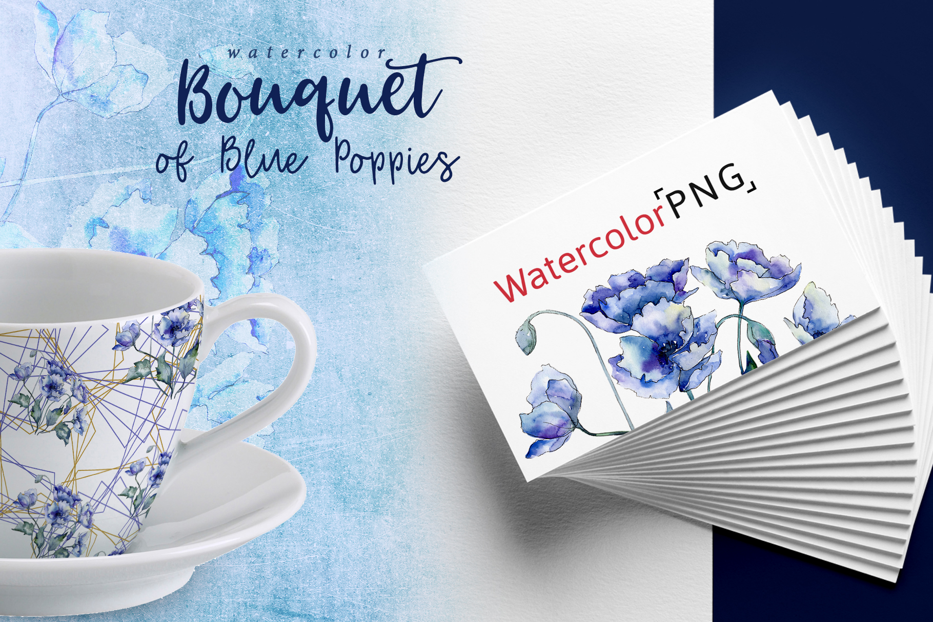 Bouquet of blue poppies PNG watercolor set example image 2