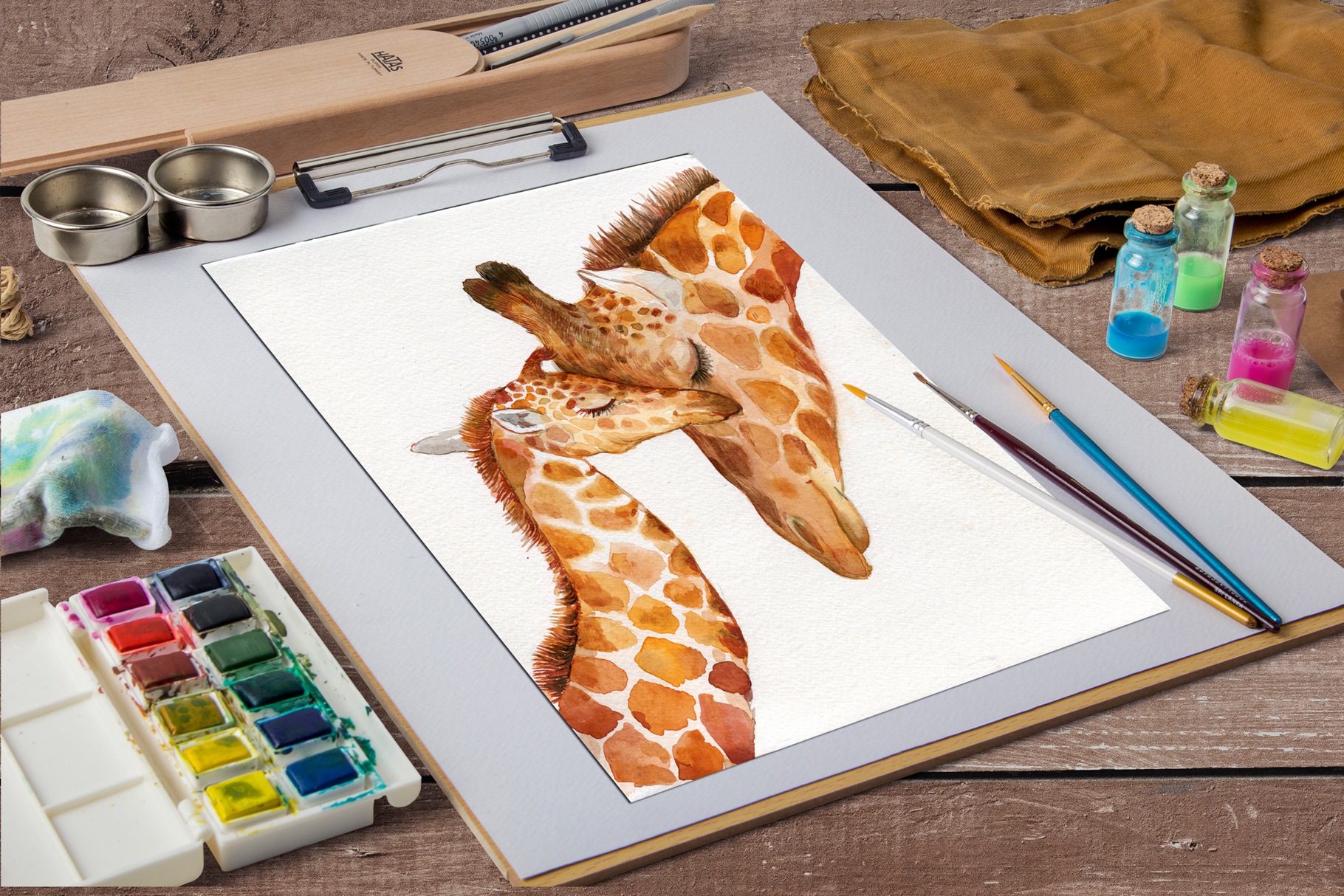 Giraffes. watercolor illustrations example image 7