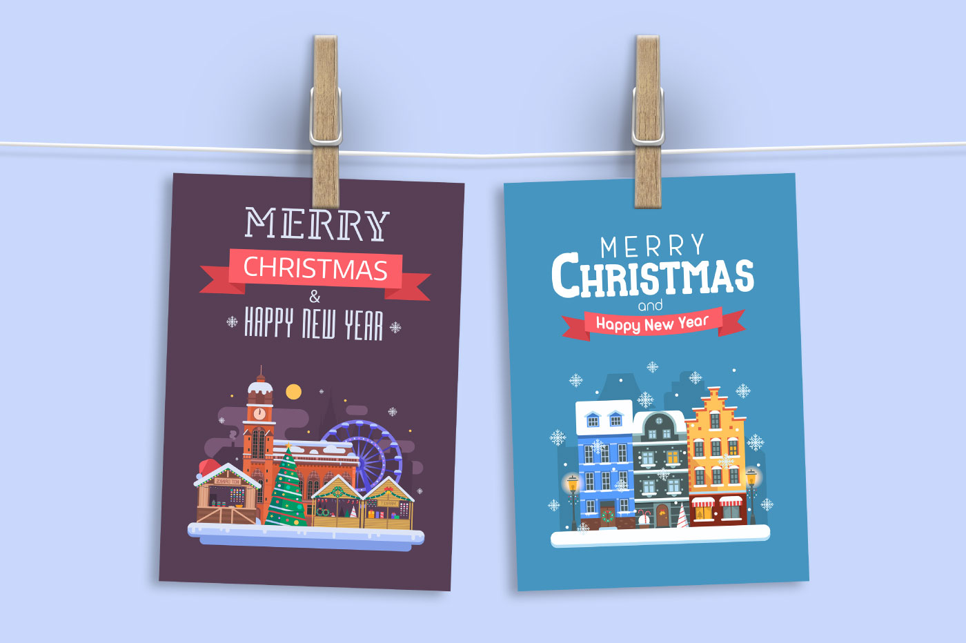 New Year and Christmas Cards with Europe Cities example image 5