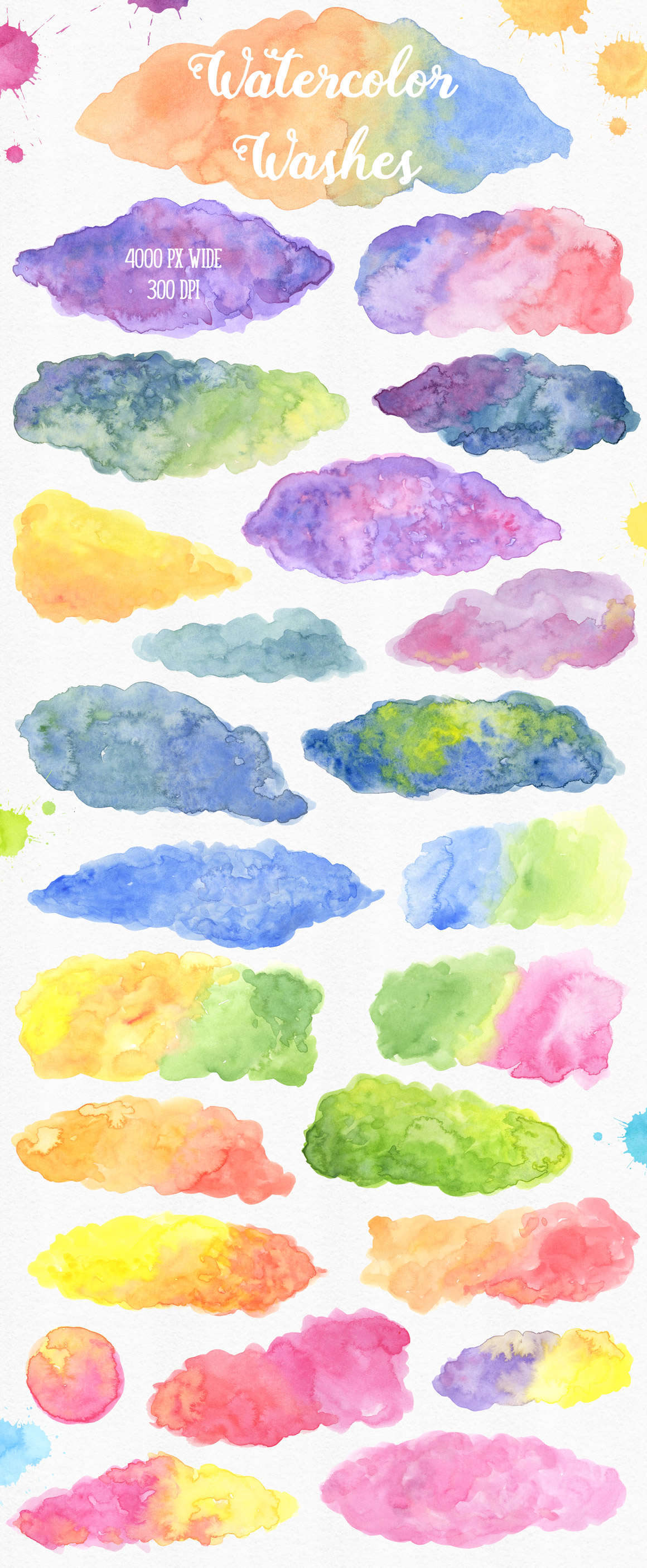 New Watercolor Textures and Graphics Bundle example image 3