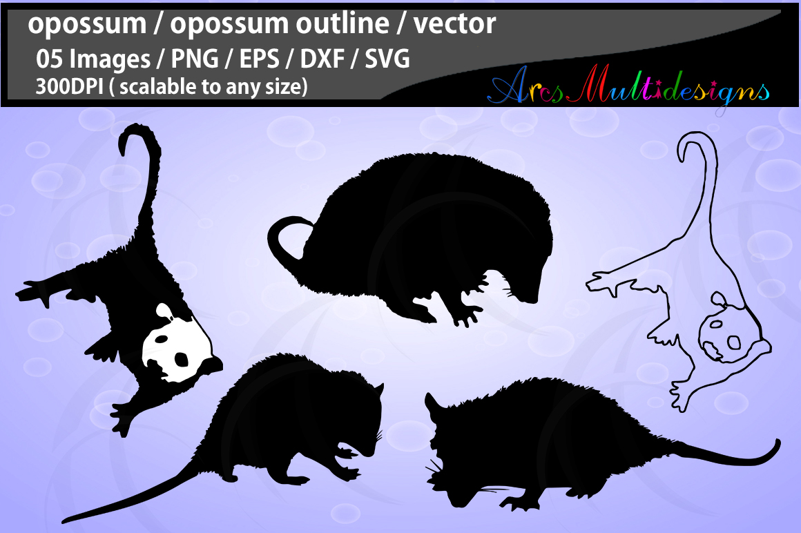 opossum / opossum svg file / opossum vector / opossum silhouette / opossum black and white / Svg / Eps / Dxf / Png / opossum clipart example image 1