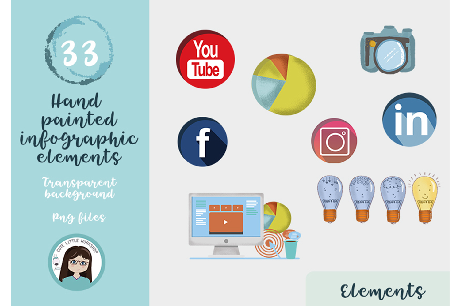 Hand painted infographic elements example image 3