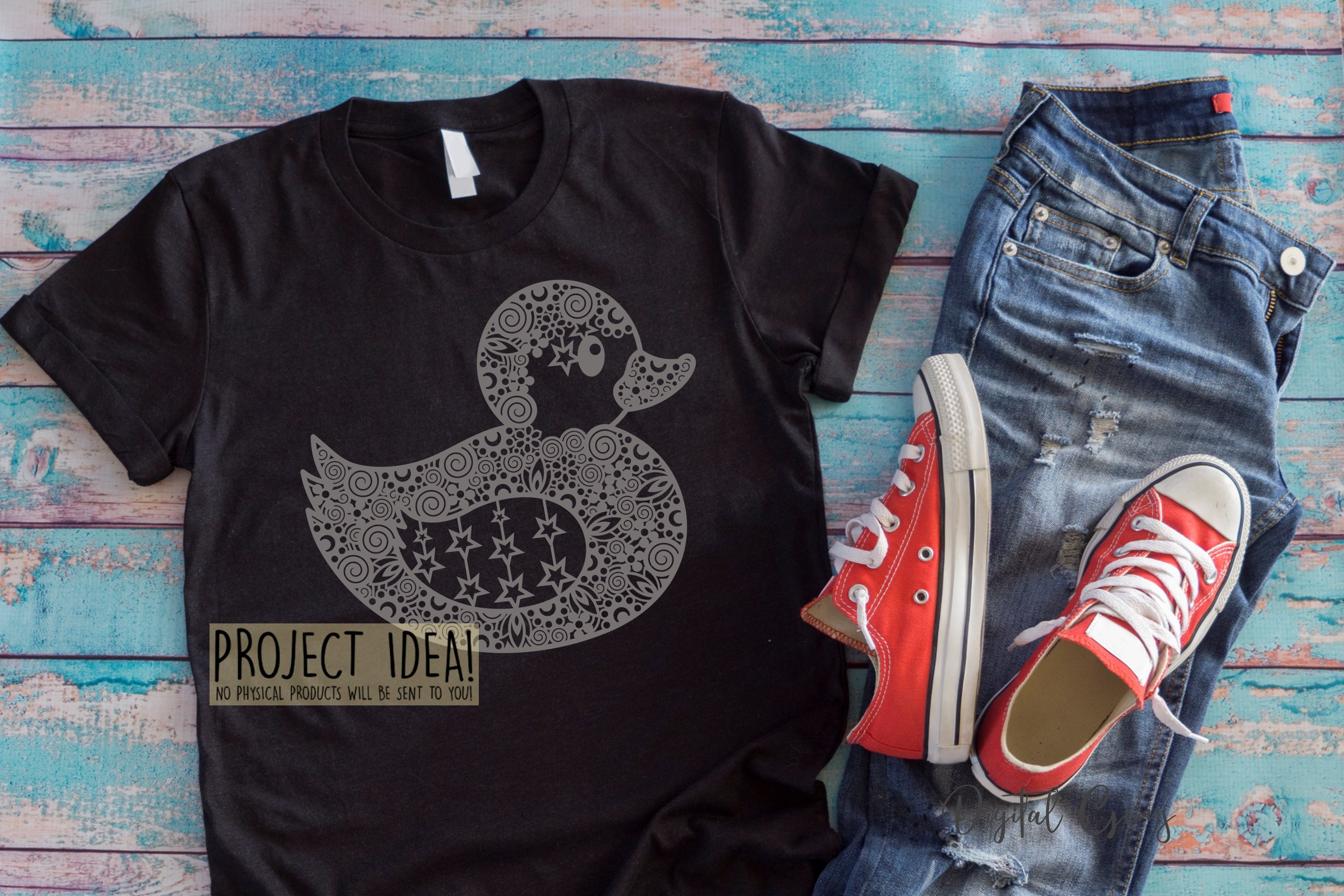 Duck paper cut design. SVG / DXF / EPS / PNG files example image 9