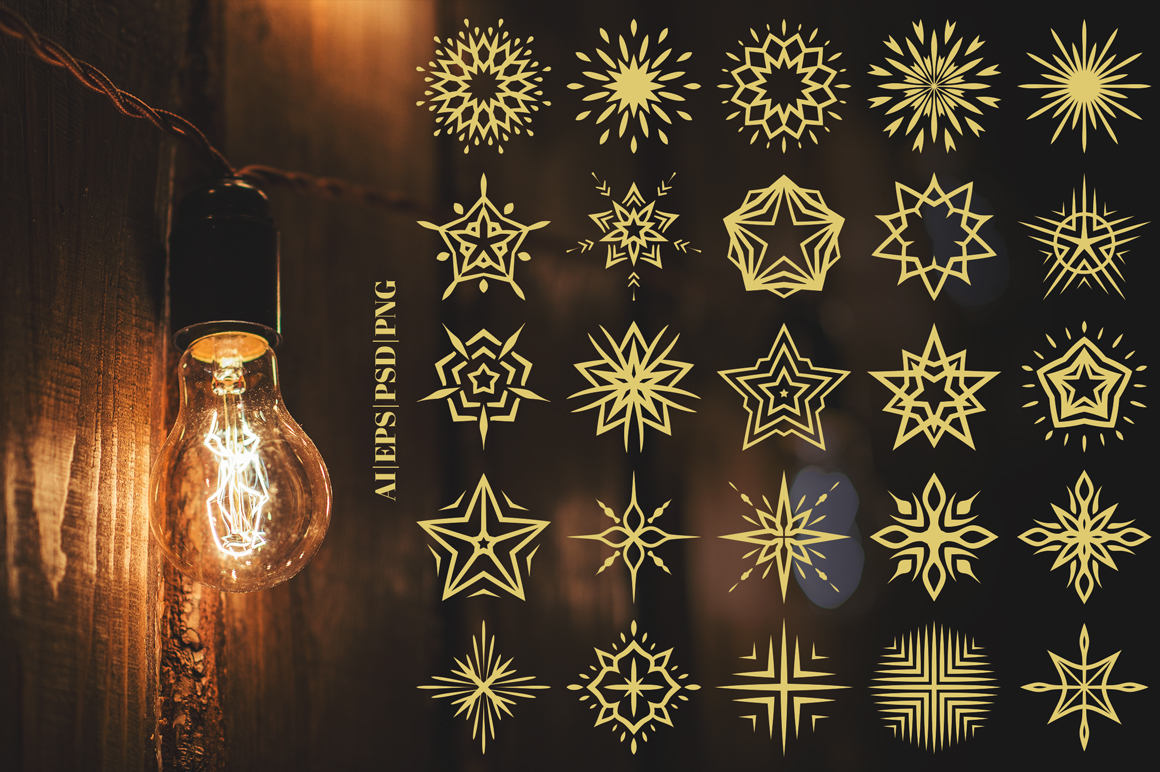 100 Star Vector Ornaments example image 3