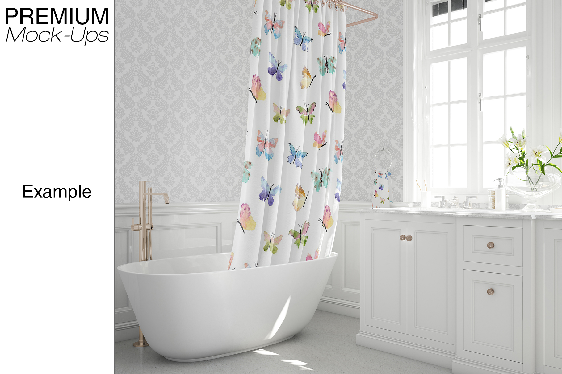 Bath Curtain Mockup Pack example image 4