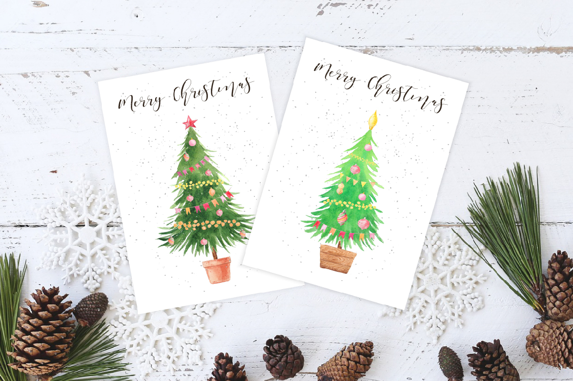 Watercolor Christmas Trees example image 5