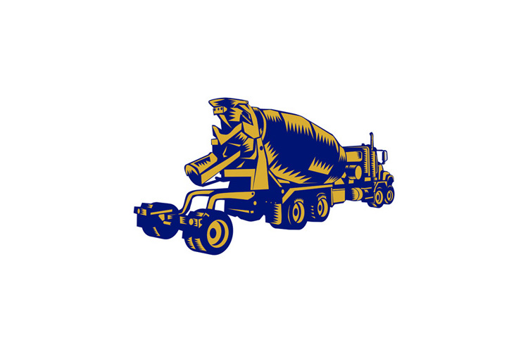 Cement Truck Rear Woodcut example image 1
