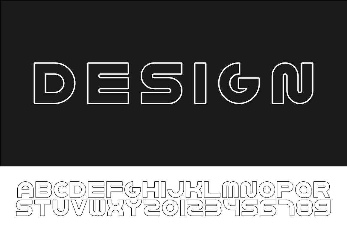 Bold contour english modern alphabet example image 1