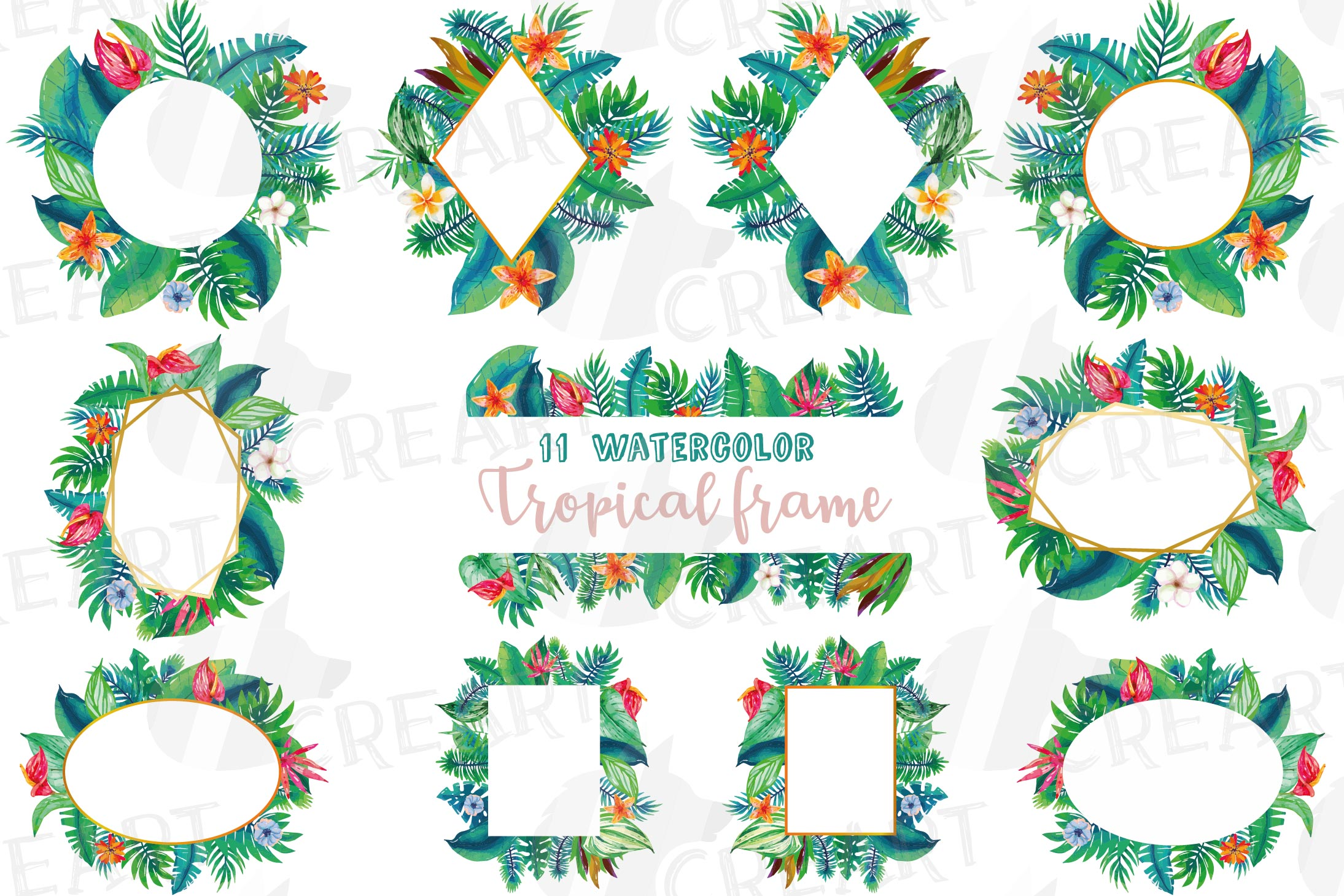 Watercolor tropical navy blue and green exotic floral frames example image 1