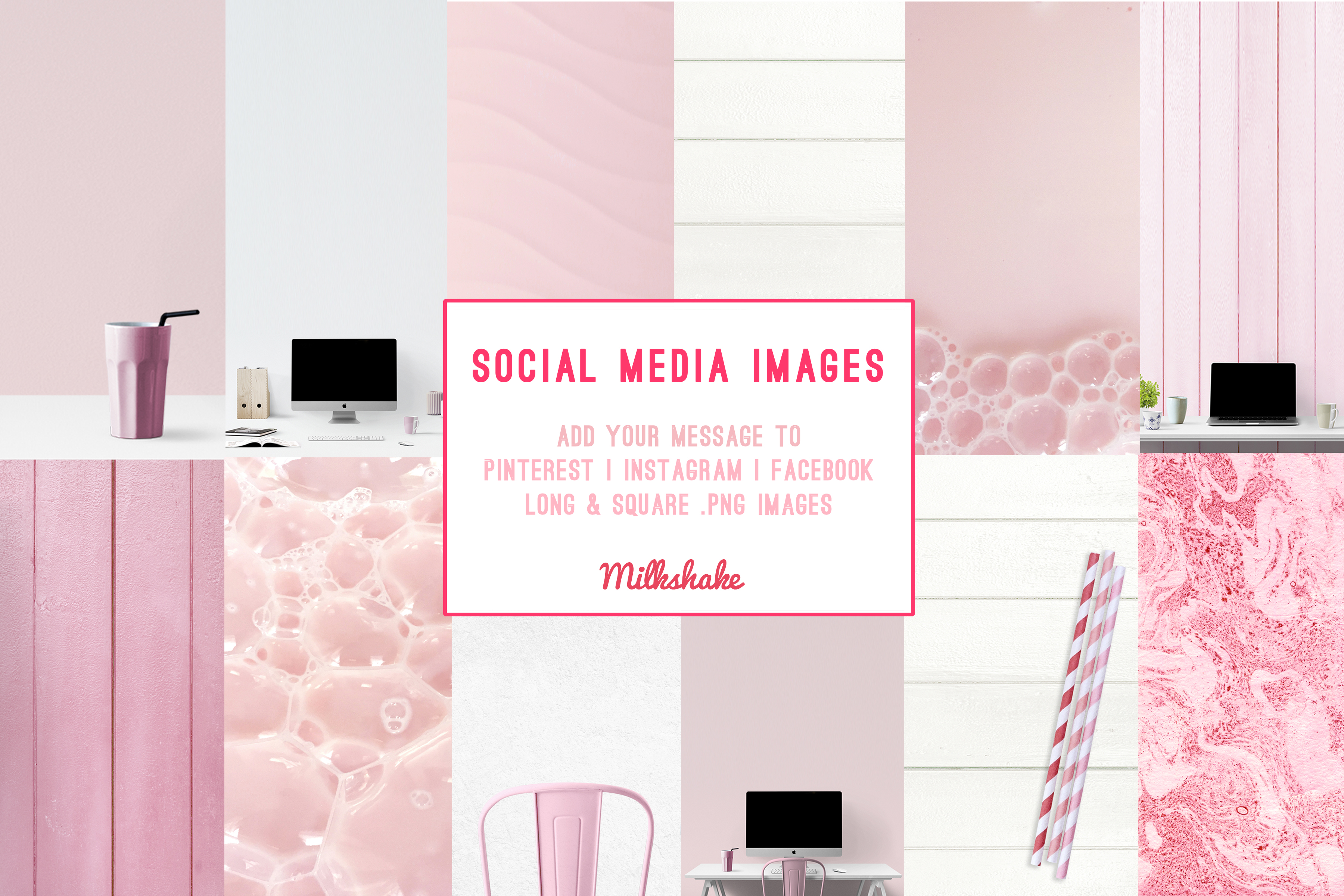 branding kit with pink backgrounds, pink mockups example image 4