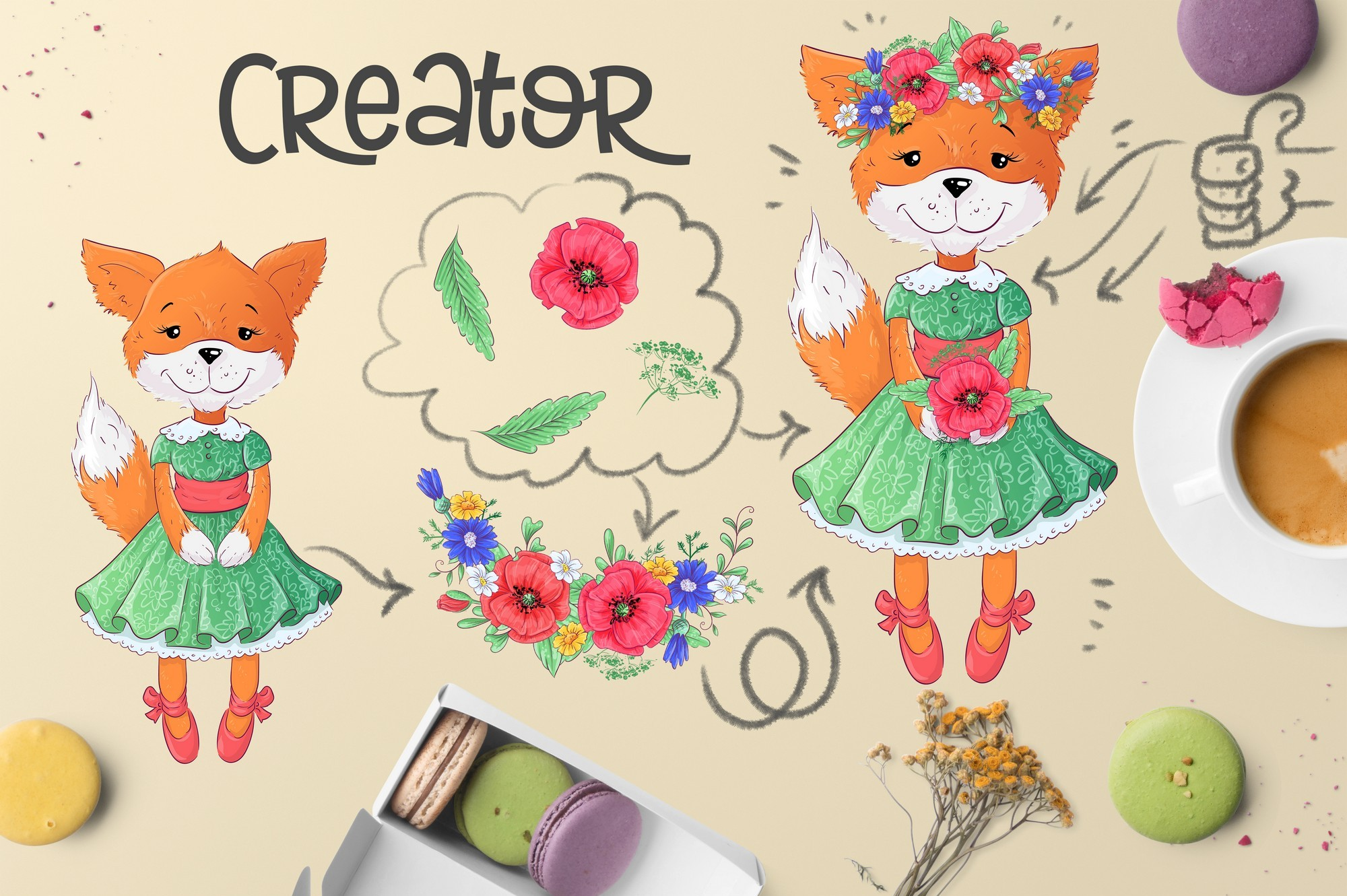Cute Foxes and poppies - vector clip art example image 6