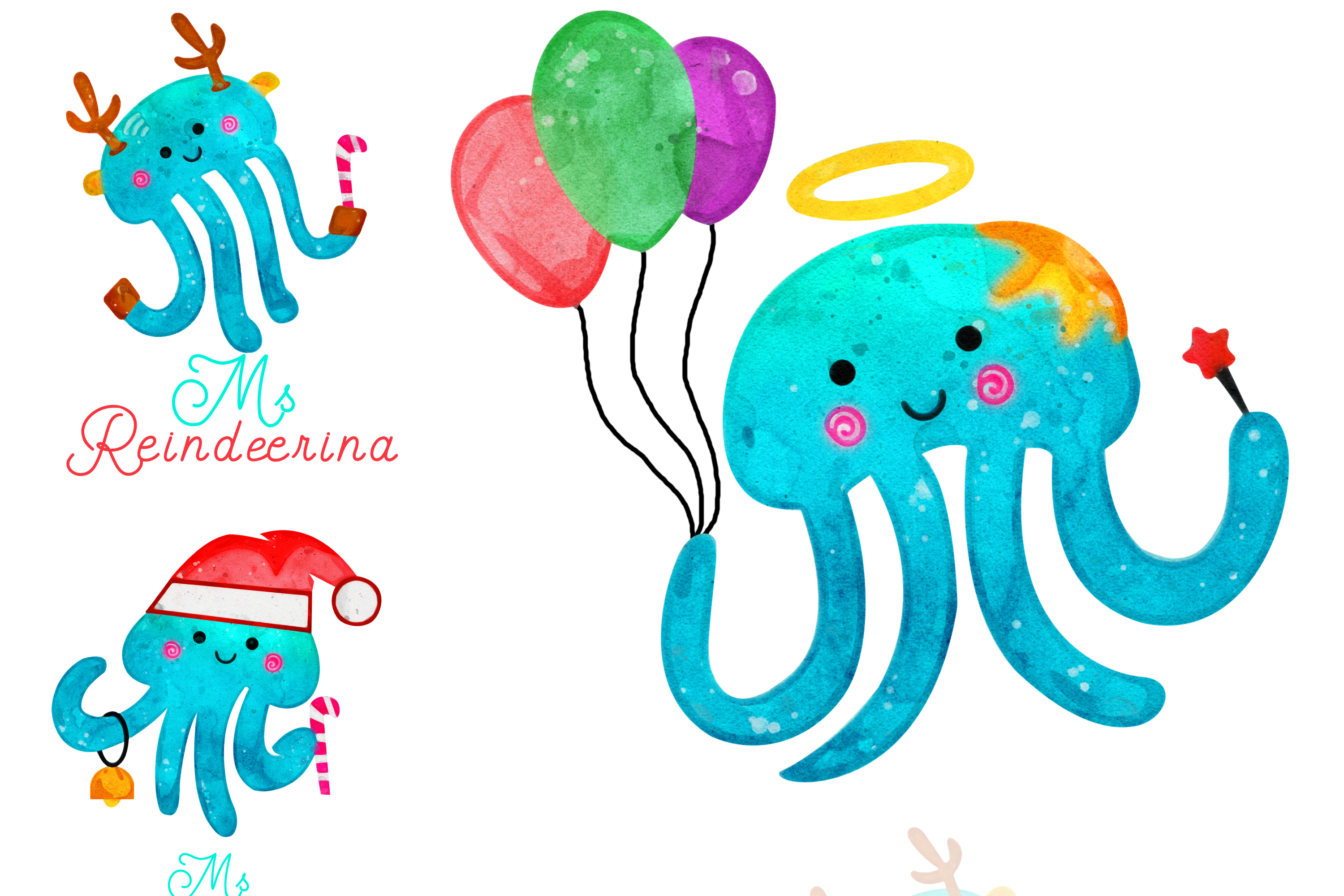 Christmas Jellyfish Watercolor Set and Vector Patterns example image 5