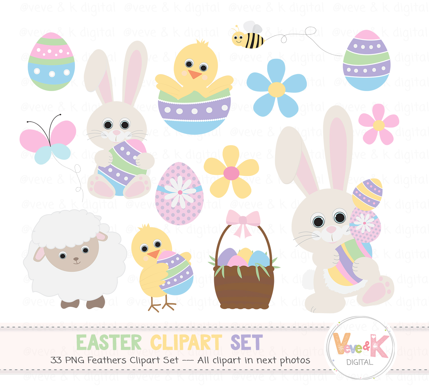 Bunny spring. Easter clipart graphics flowers