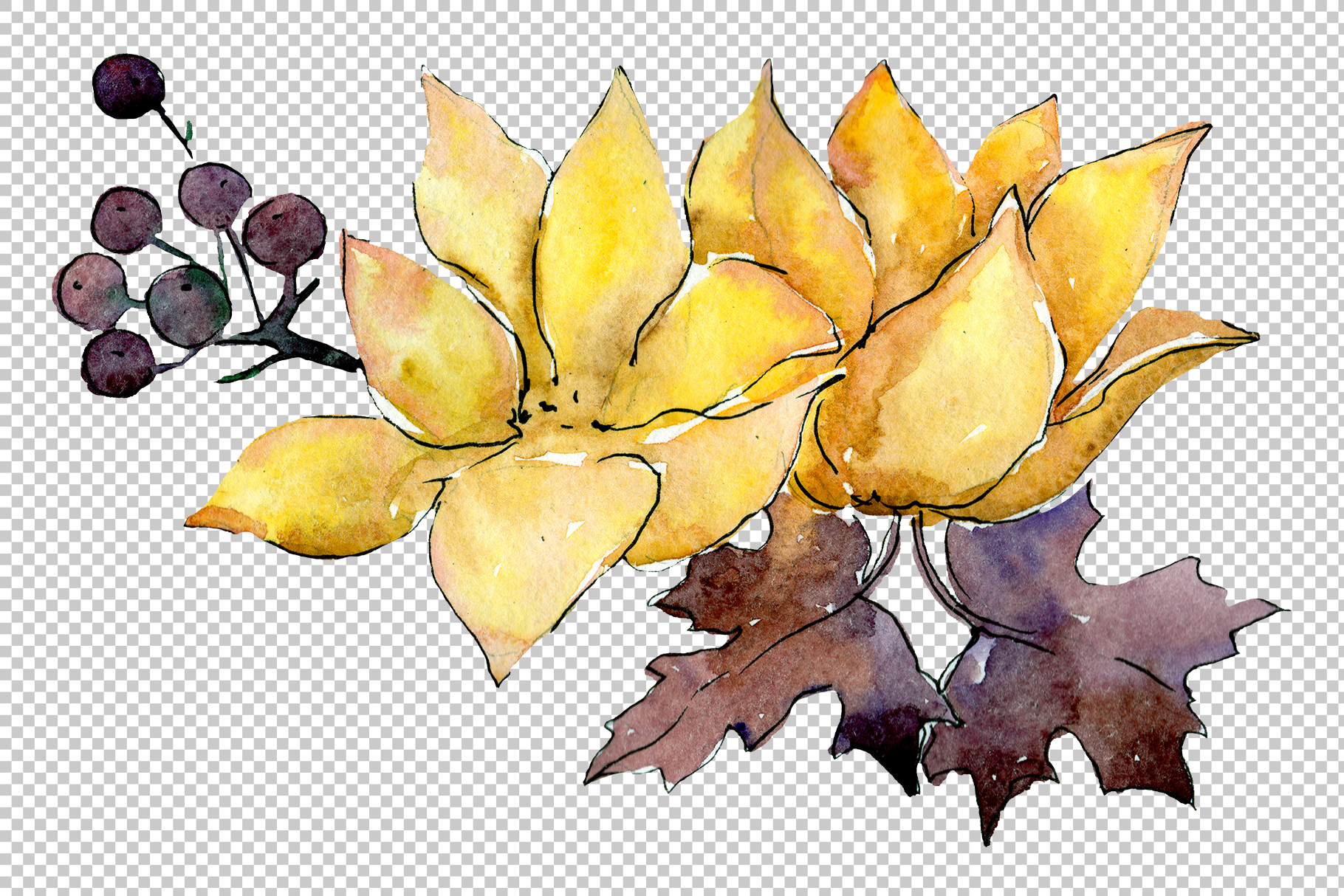 Flower composition PNG watercolor set example image 2