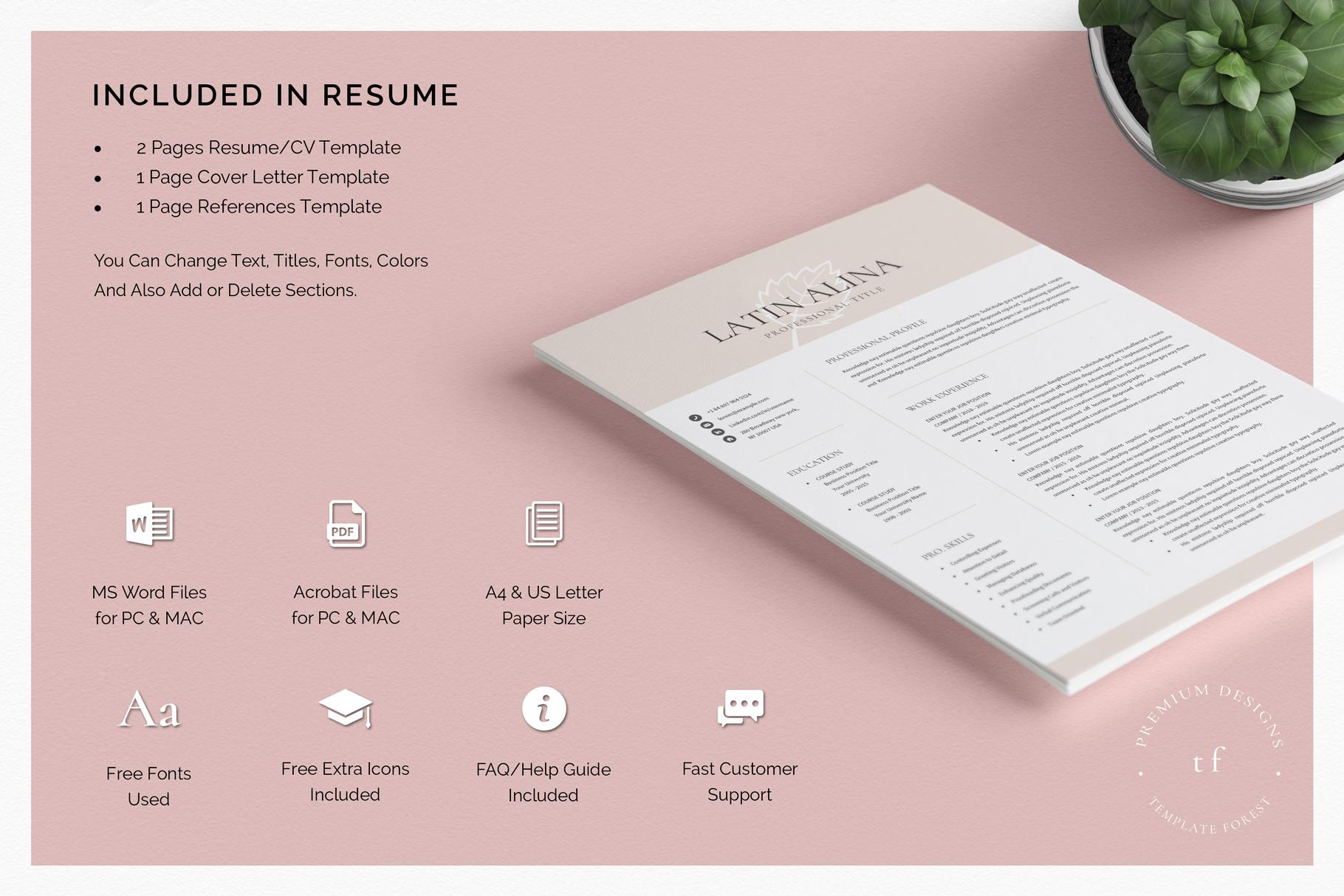 Minimal Professional Resume Template Word example image 4