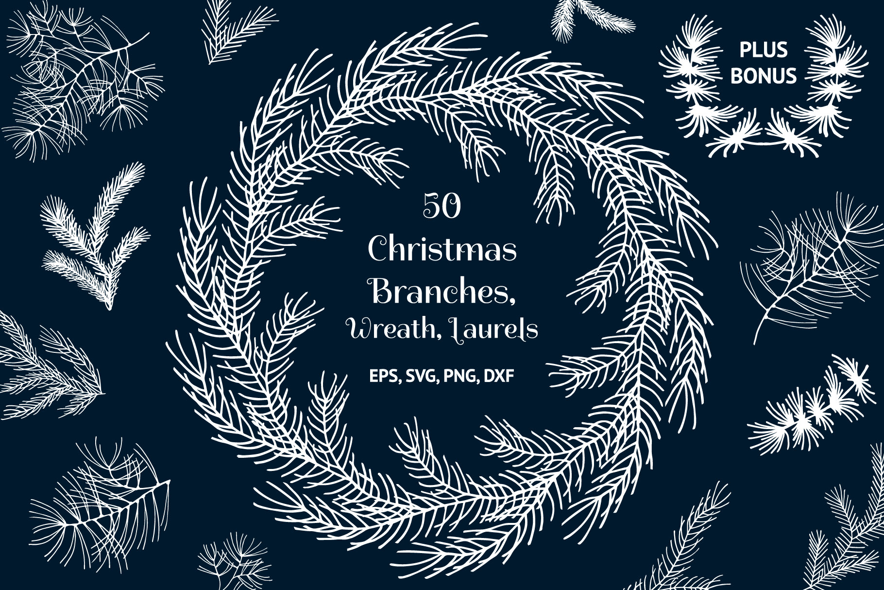 50 Hand Drawn Christmas Branches, Wreaths, Laurels, Dividers example image 1