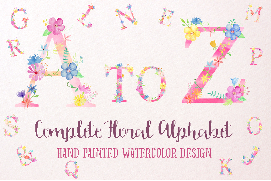 Watercolor floral alphabets, pink floral letters example image 1