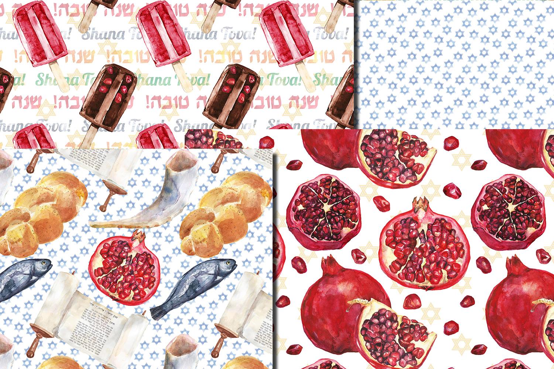 Watercolor Rosh Hashanah seamless digital paper pack example image 4