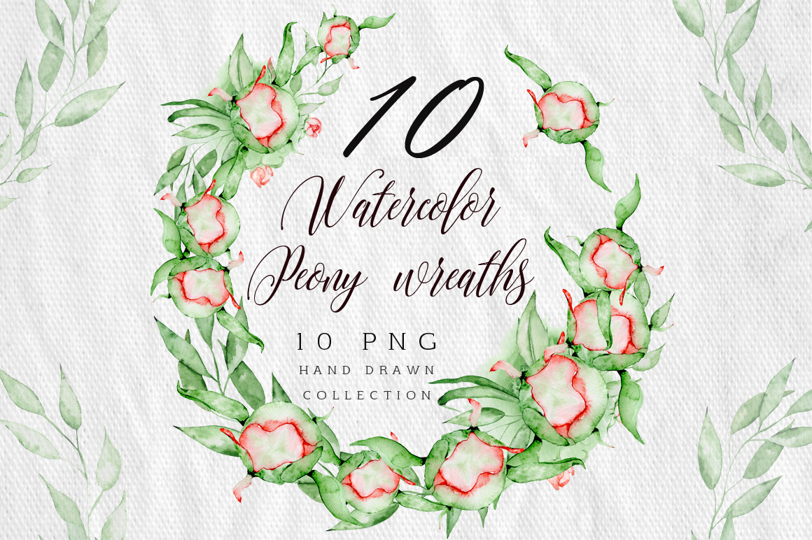 Watercolor peonies wreath clipart example image 1