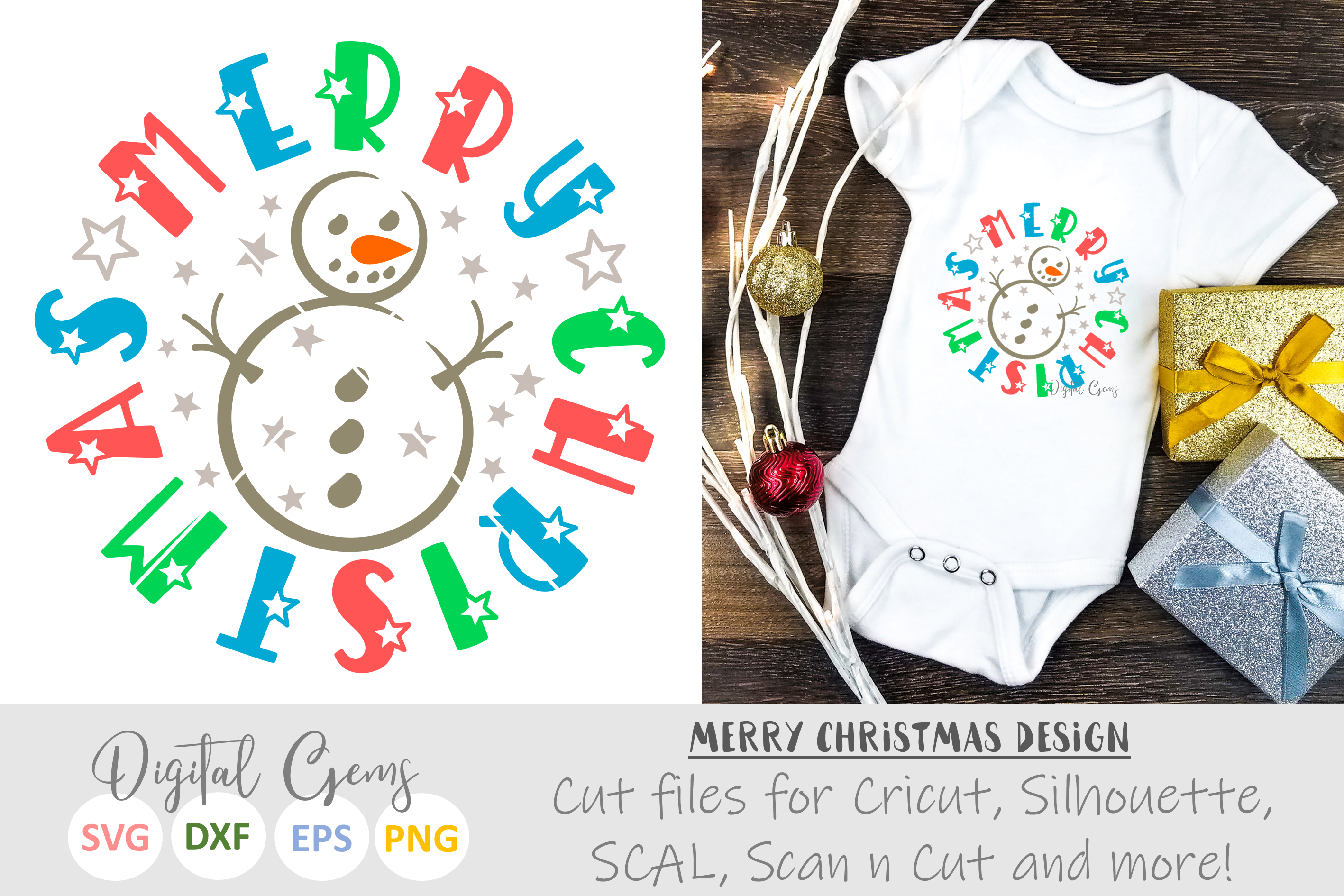Merry Christmas, Snowman SVG / EPS / DXF / PNG Files example image 1