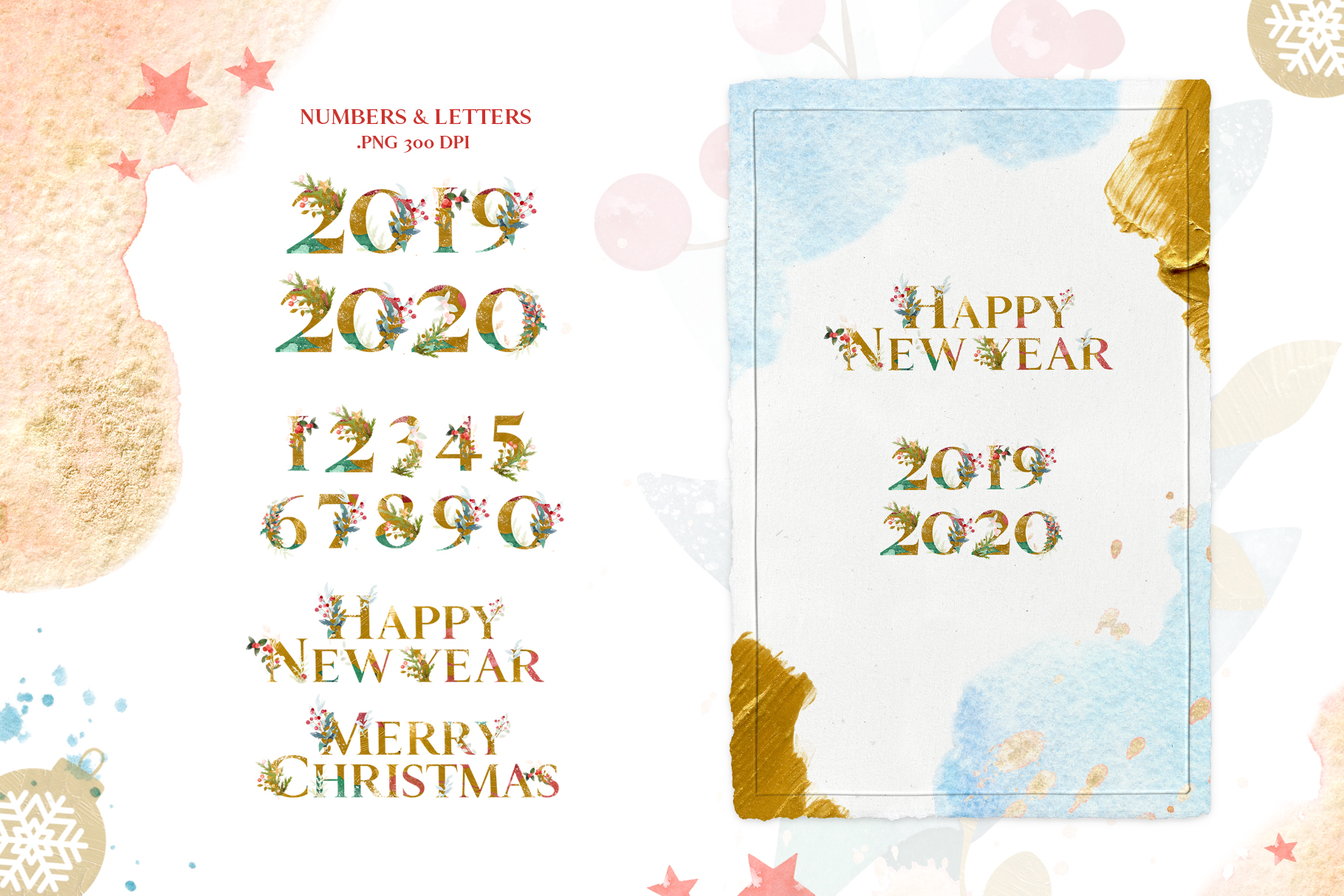 Merry Christmas Watercolor Design Set example image 8