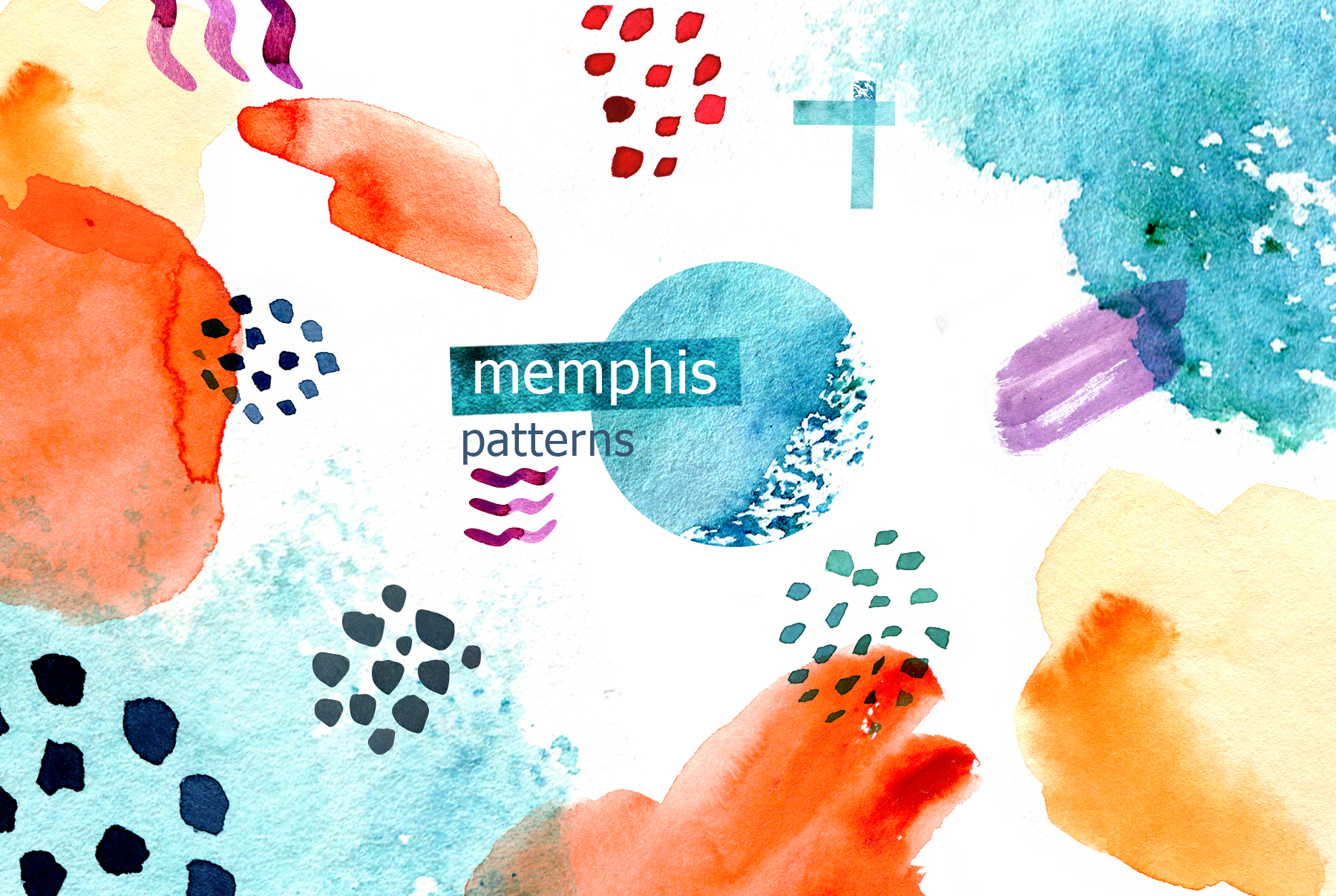 Watercolor memphis patterns & shapes example image 9