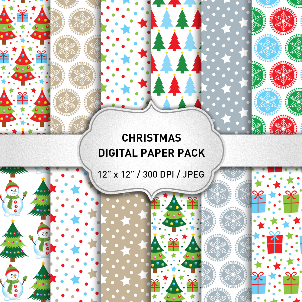 Christmas Digital Paper Pack / Christmas Background / Scrapbooking / Card Making / Patterns / Printables example image 1