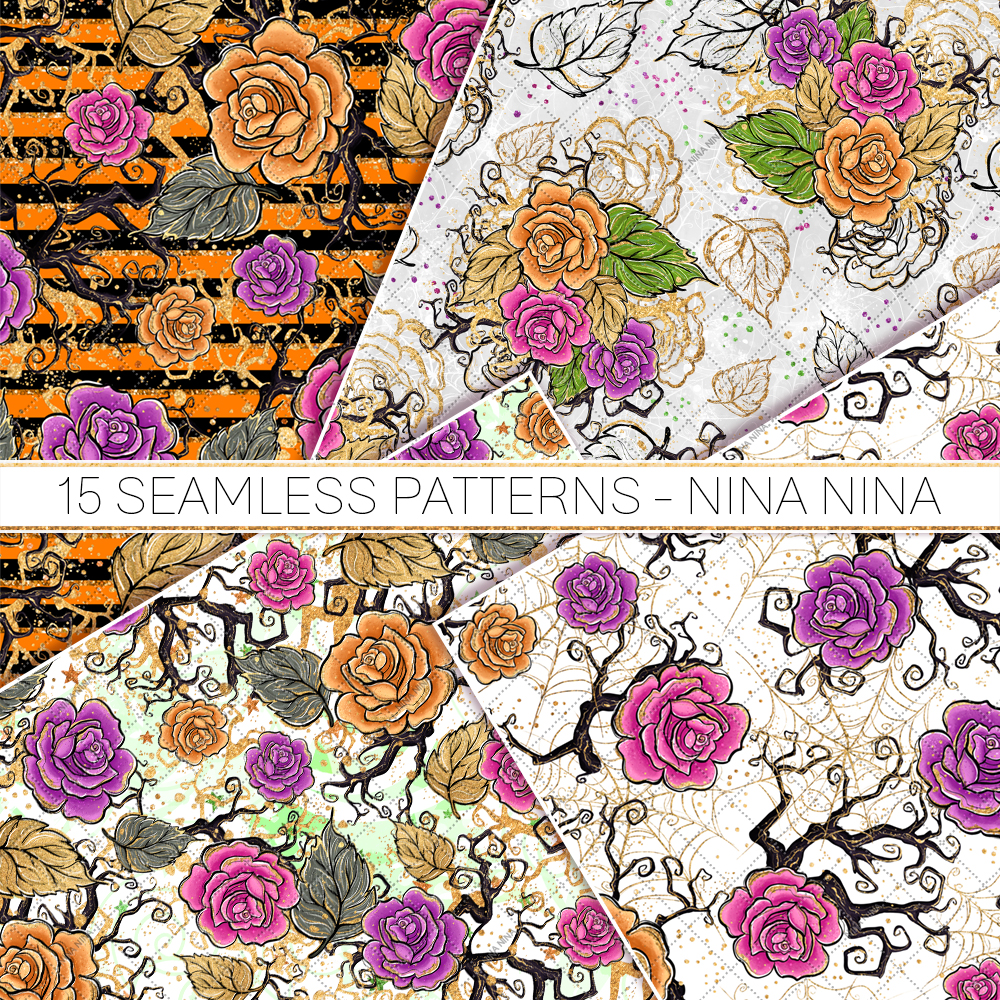 Halloween Flowers Seamless Patterns, Roses Digital Papers example image 2