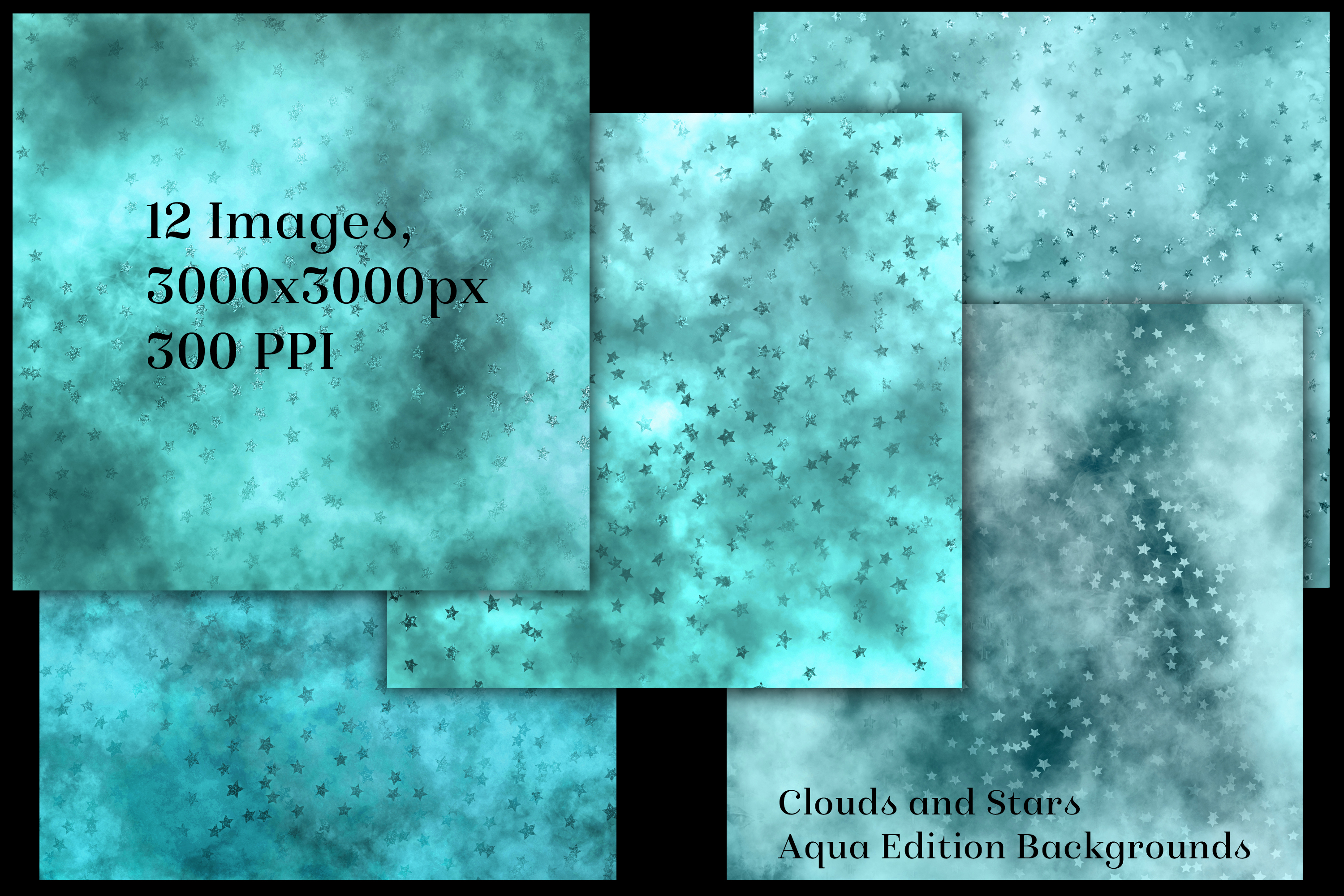 Clouds and Stars - Aqua Edition Backgrounds example image 2