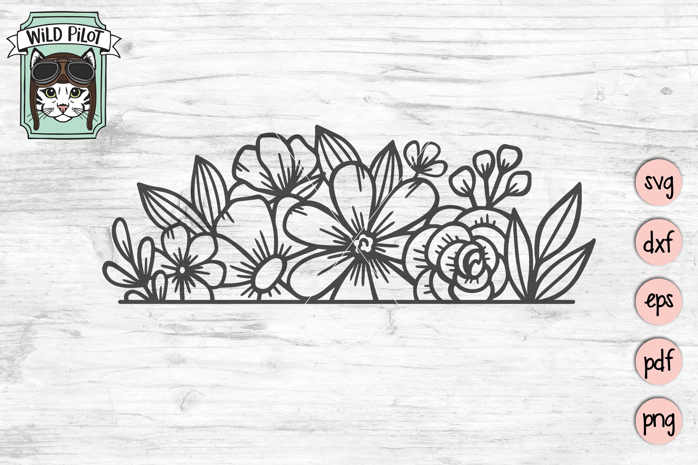 Flower Border SVG file, Split Monogram, Floral Border example image 3