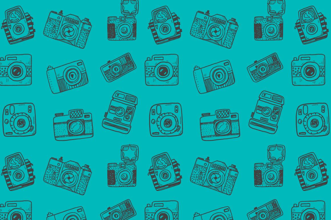 Hand drawn camera set +patterns example image 11
