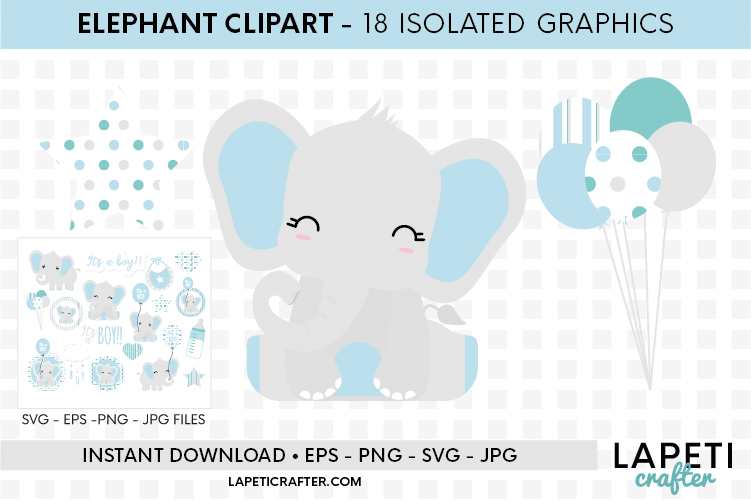 Baby Boy Elephant, gender reveal, baby shower clipart example image 6