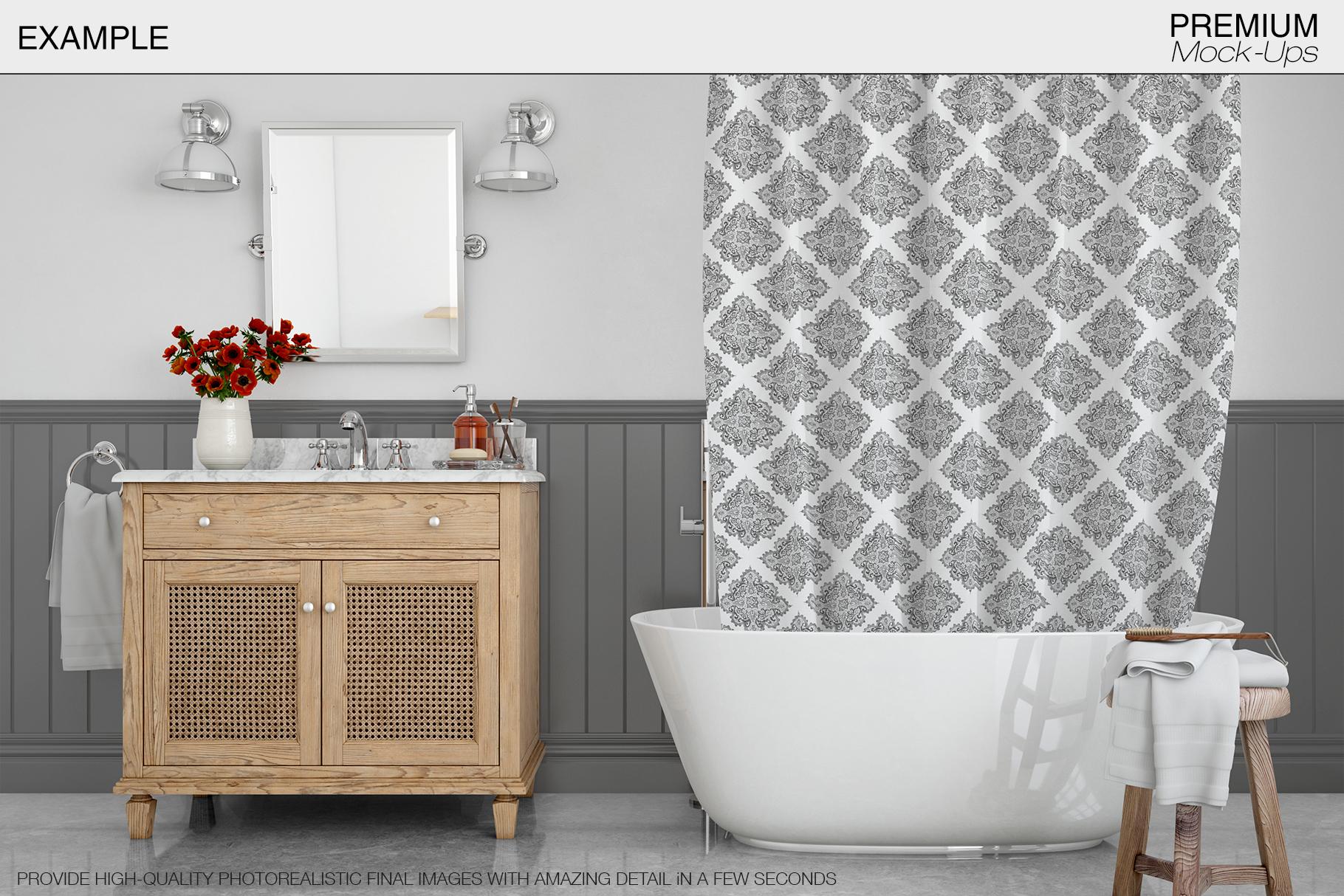 Bath Curtain Mockup Pack example image 14