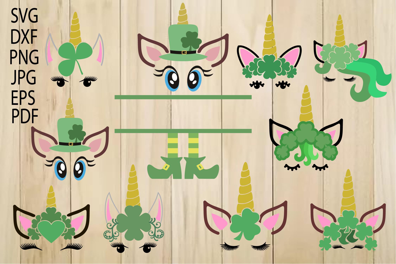 Unicorn SVG, Unicorn Head, Unicorn Face, St. Patrick's Day example image 1