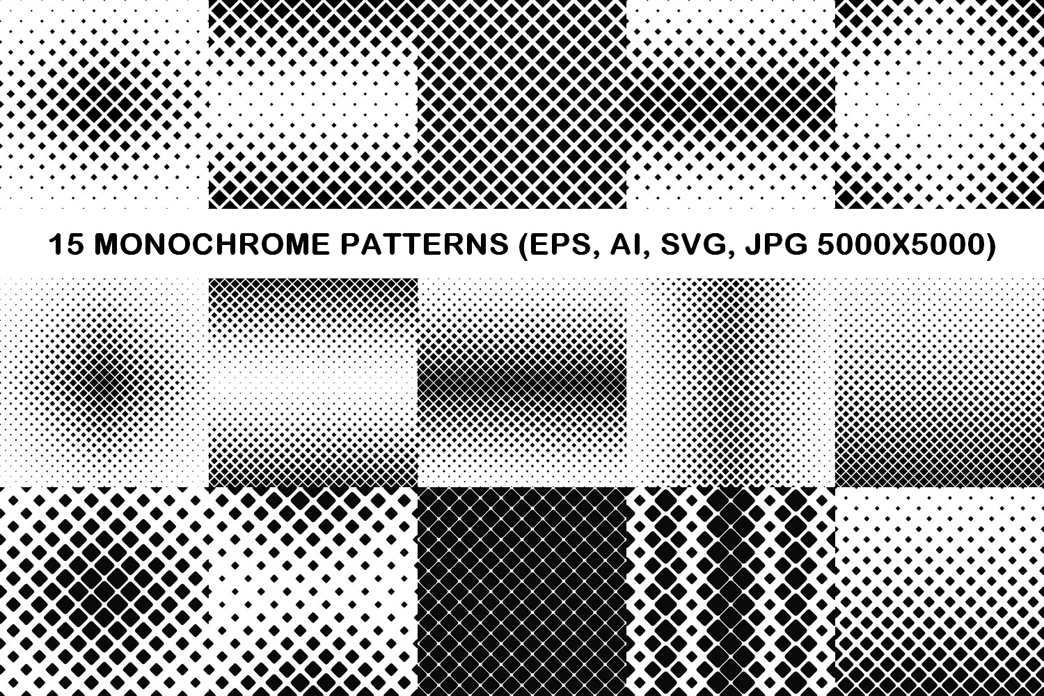 75 Monochrome Geometrical Patterns AI, EPS, JPG 5000x5000 example image 3