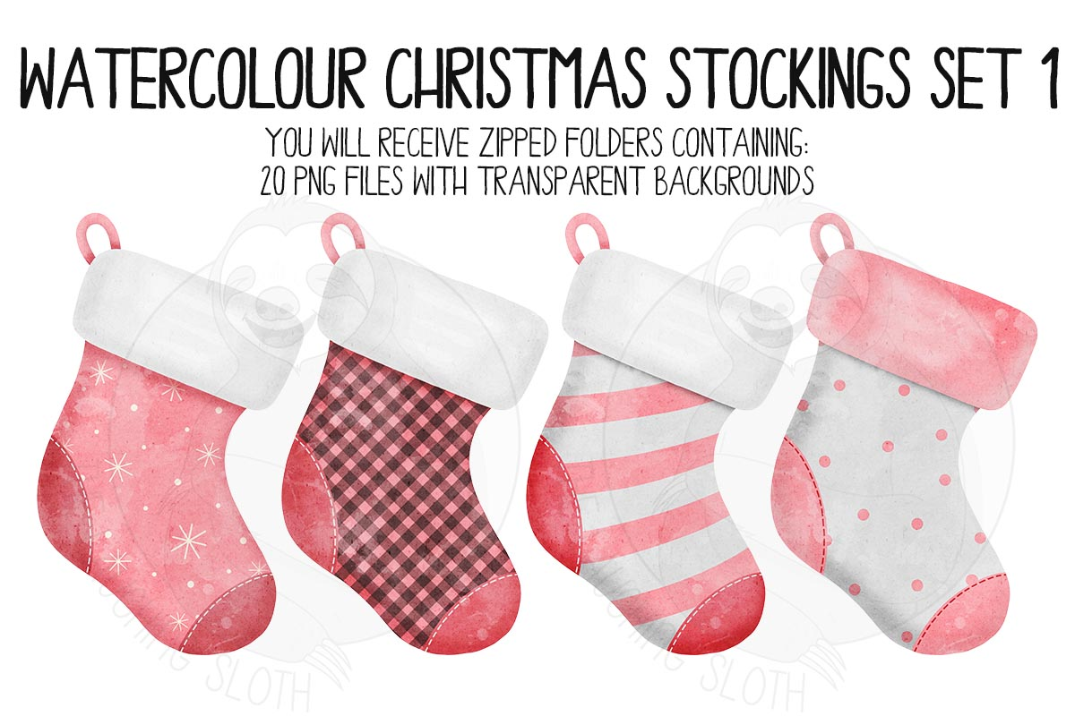 Watercolor Christmas Stocking Clipart example image 6