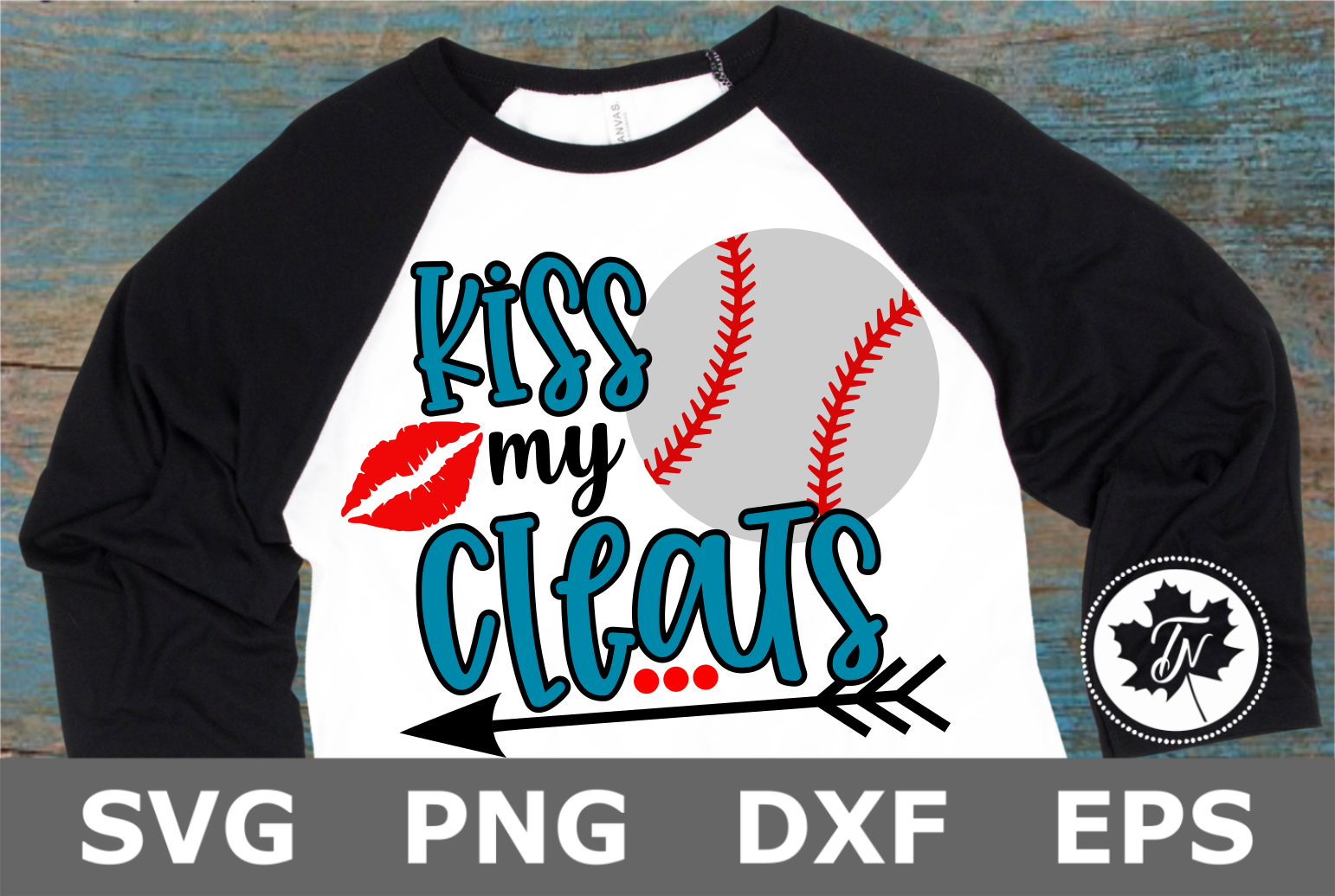 Kiss My Cleats Baseball - A Sports SVG Cut File example image 2