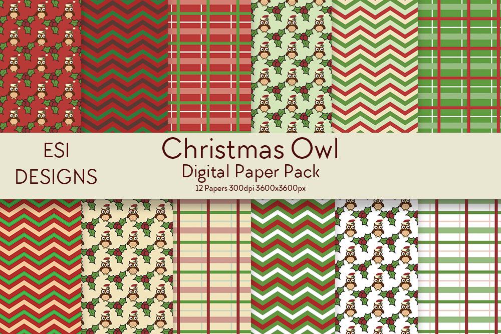 Christmas Owl Digital Paper Pack example image 1