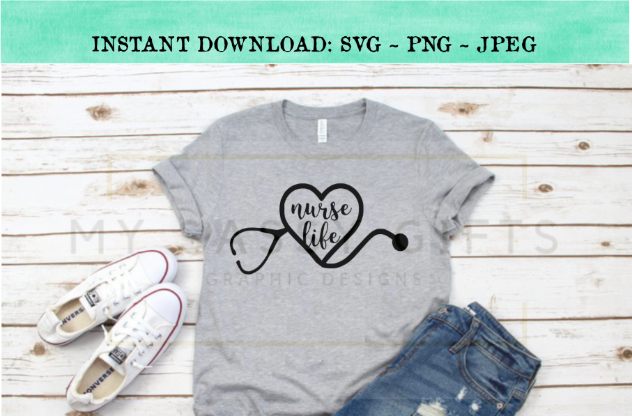 The Nurse Life With Heart Stethoscope SVG Design example image 2