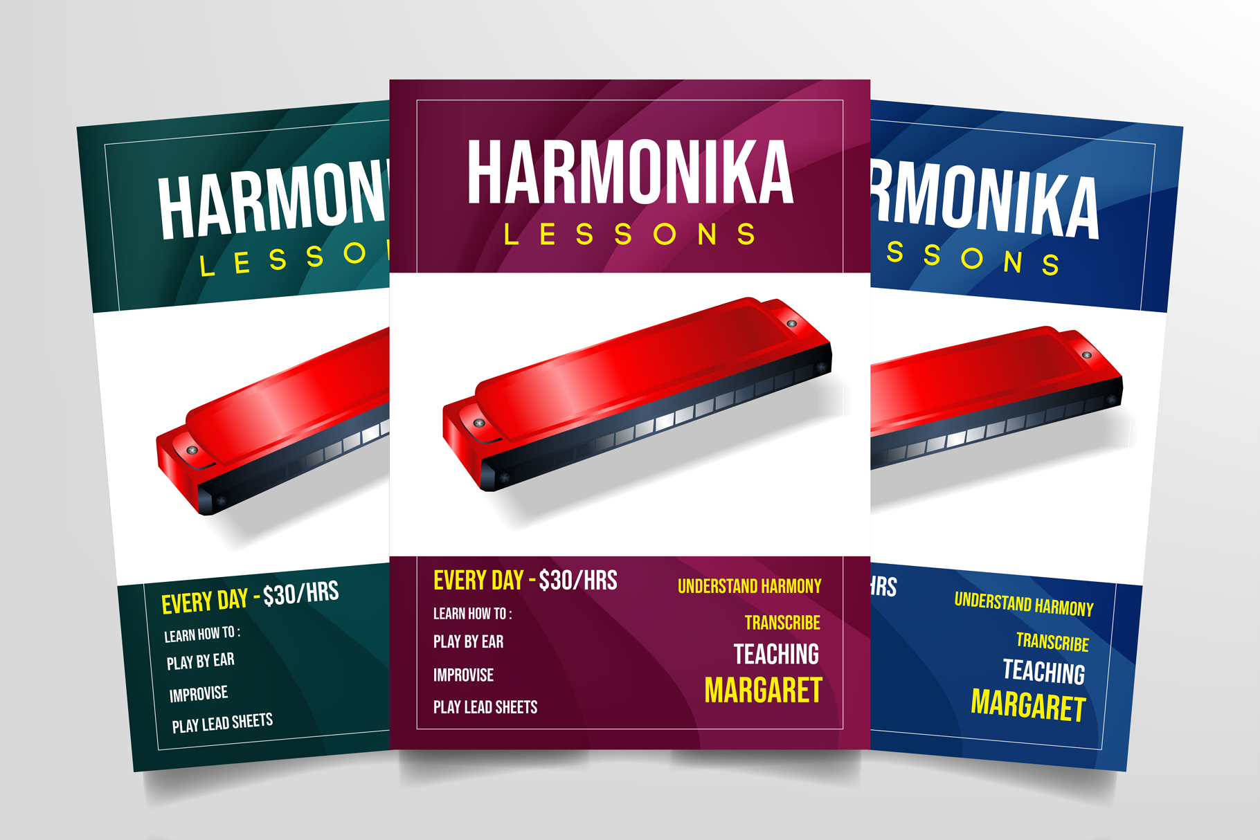 Harmonica Lessons Flyer Template example image 1