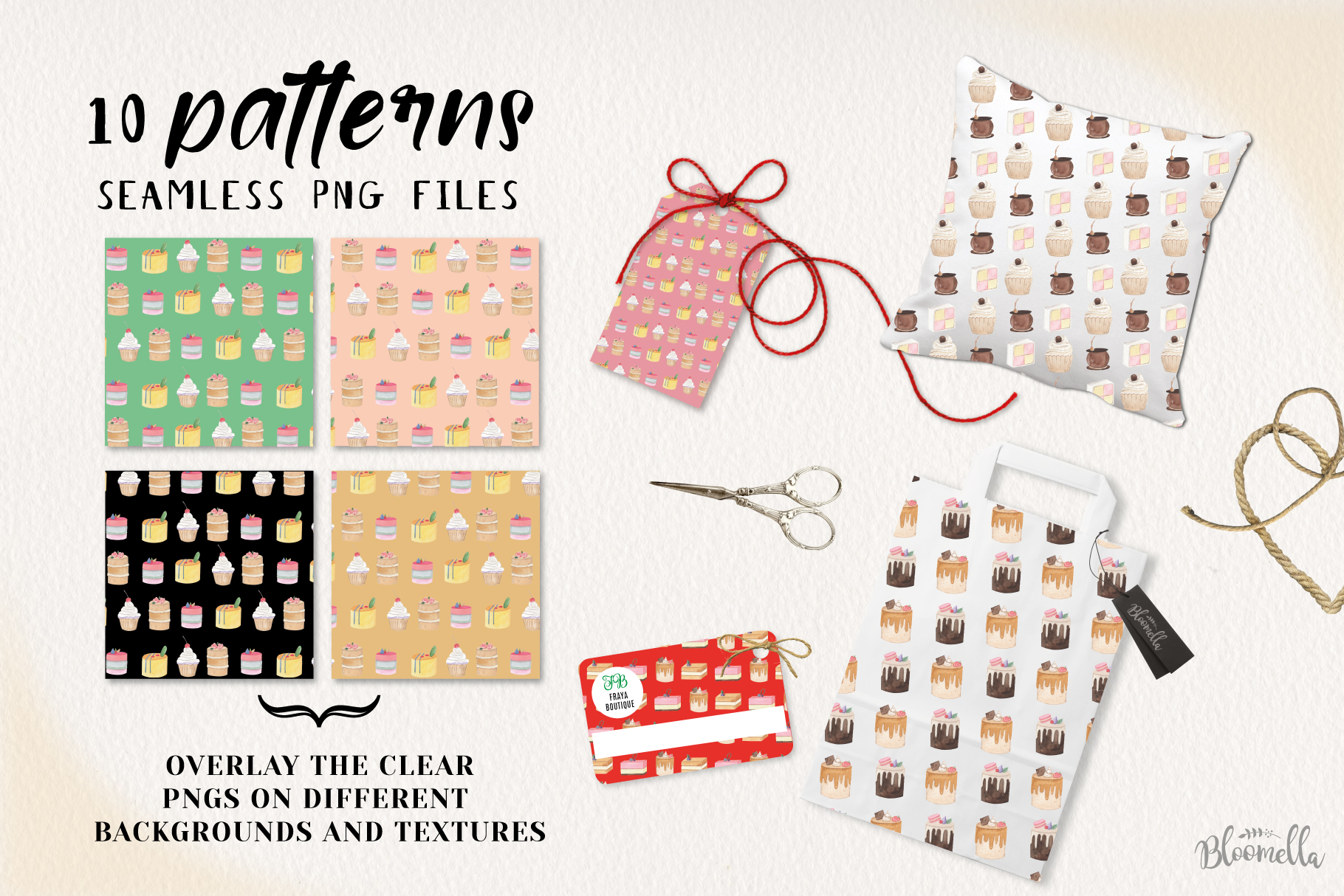 Mini Cakes 10 Seamless Patterns Digital Papers Icing Cake example image 2