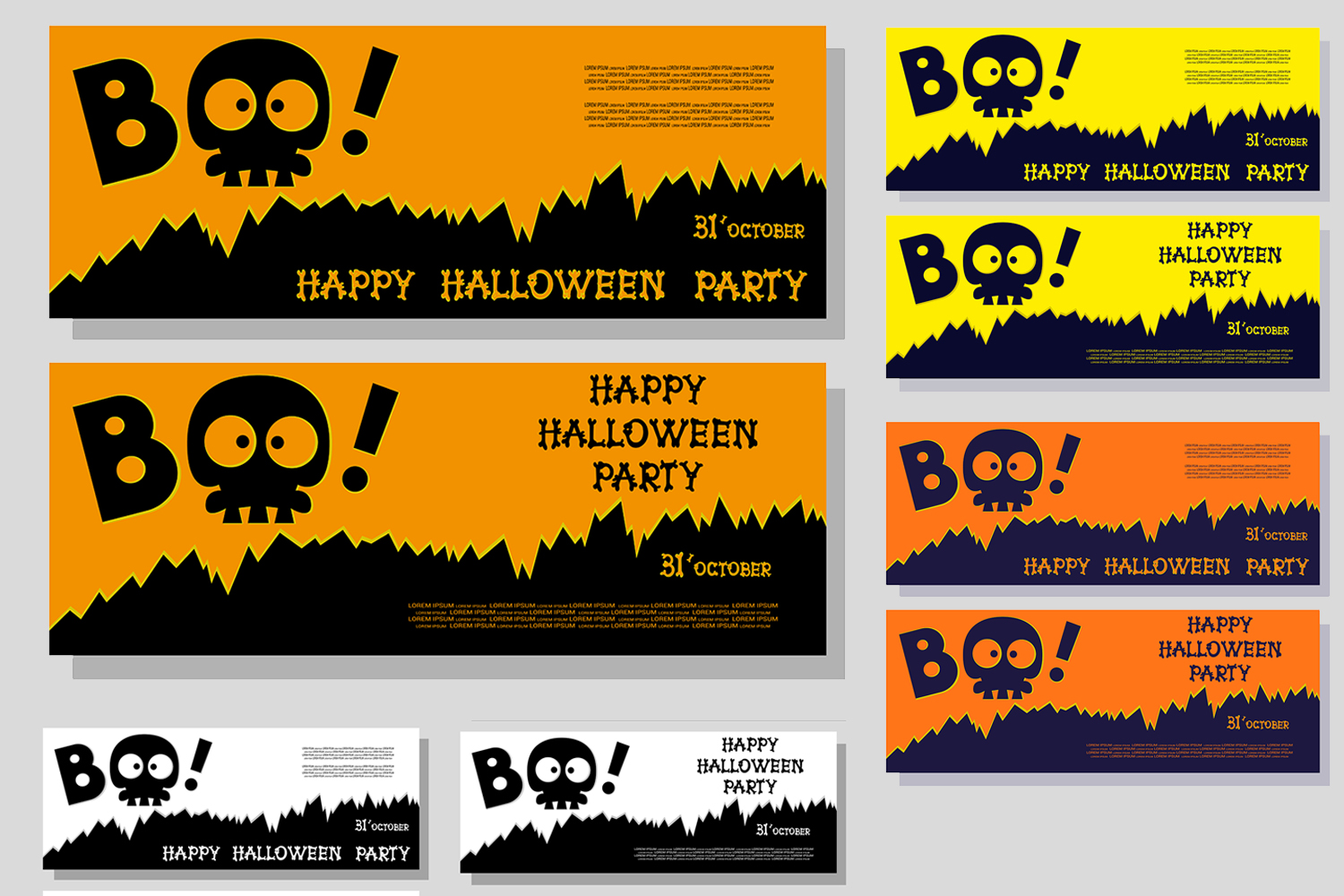 Set of 28 Halloween banner different color and character example image 4
