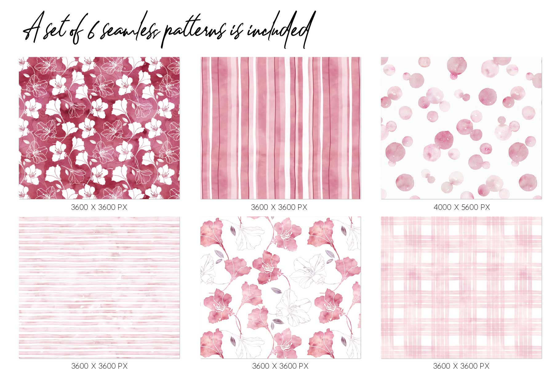 15 Huge Seamless Pink & Grey Watercolor Textures example image 5
