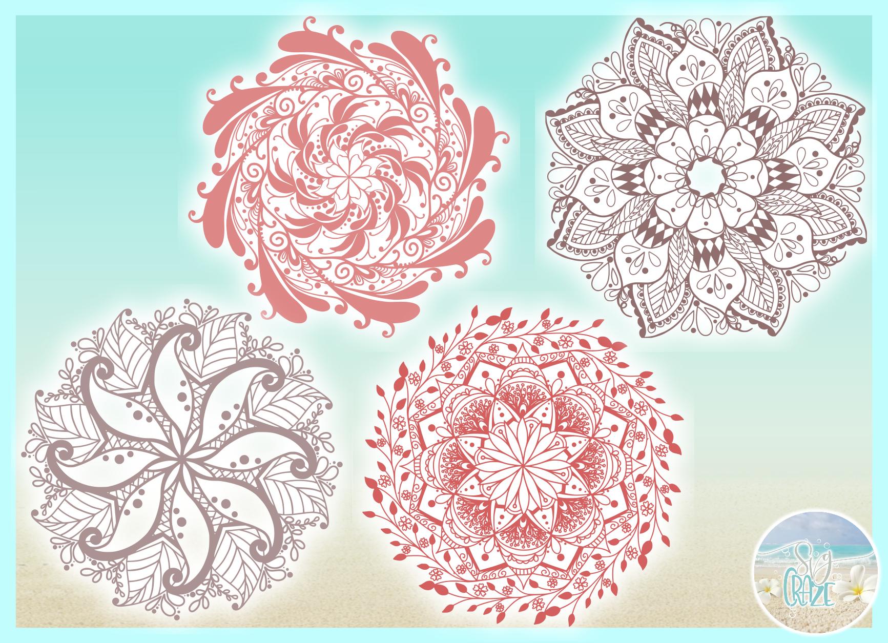 Hand Drawn Mandala Zentangle Bundle SVG Dxf Eps Png PDF example image 2