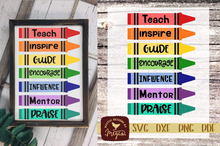 Teacher Crayon SVG - School cut file example image 1