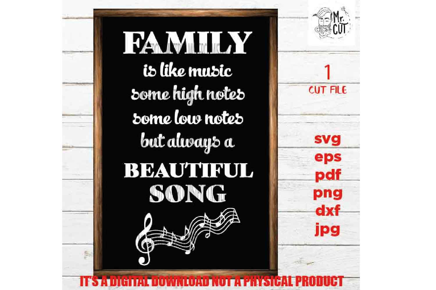 Family sign SVG, Family is like music SVG, reunion, dxf, jpg example image 3