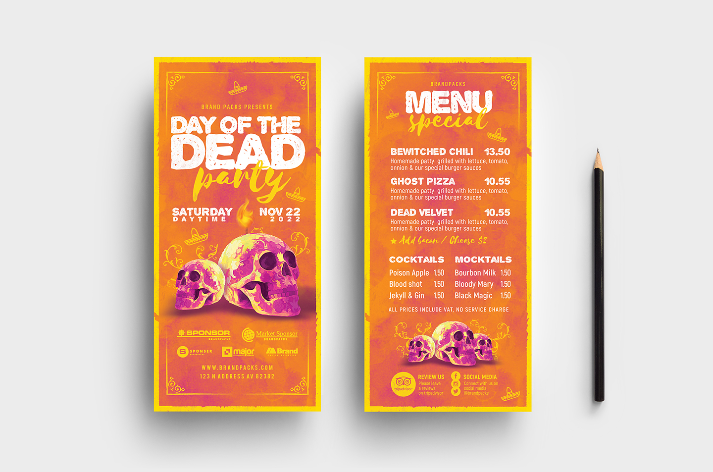 Day of The Dead Party Flyer Template example image 7